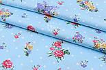 """Лоскут сатина """"Букетики сиренево-розовые и белый горошек"""" на голубом, № 1718с, размер 44*80 см, фото 2"""
