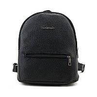 Молодежный женский городской рюкзак  из экокожи, черный