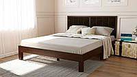 Деревянная кровать Квин с мягким изголовьем в деревянной рамке