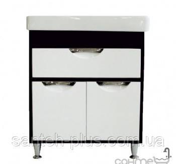 Тумба шпонированная ( венге+белый цвет) для ванной комнаты Принц Т6 с Умывальником Диана-90