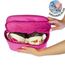 Женский органайзер для белья и косметики на 2 отделения ORGANIZE (розовый)