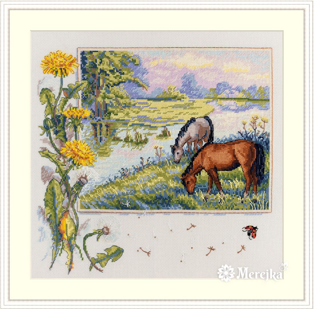 """Набор для вышивания крестом """"Лошади"""" Мережка"""
