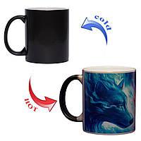 Чашка хамелеон Огонь и Вода: Волк и Волчица 330мл, фото 1