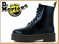 Зимние ботинки Dr Martens Jadon Black (Доктор Мартинс 1460, черные) внутри мех / женские, мужские