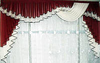 Ламбрекен из шифона бордового цвета 2,5 метра