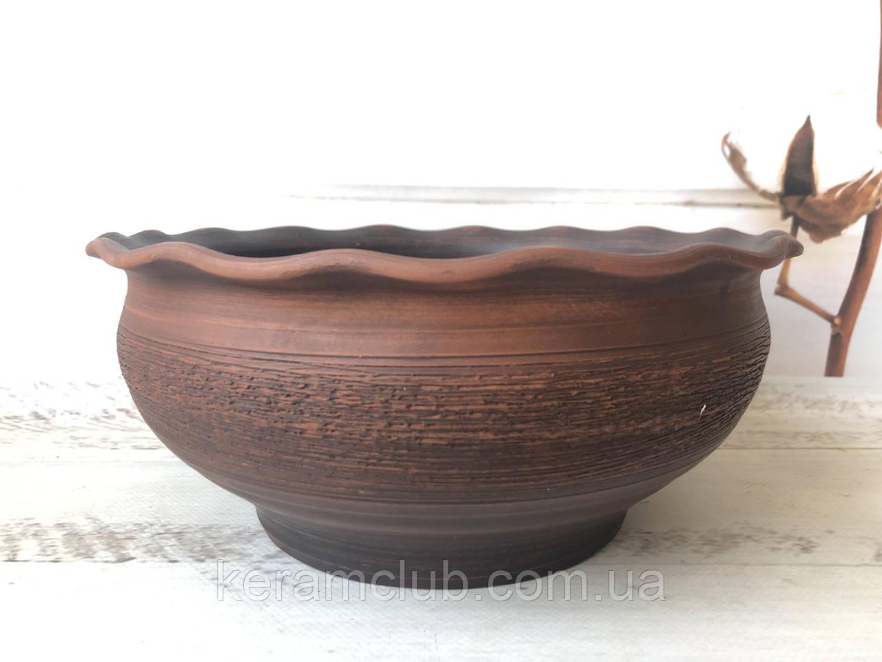 Гончарная глиняная миска для вареников 2,5 л