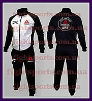 """Мужской Спортивный костюм UFC REEBOK WHITE (без капюшона) """"В стиле"""" черный , белый"""