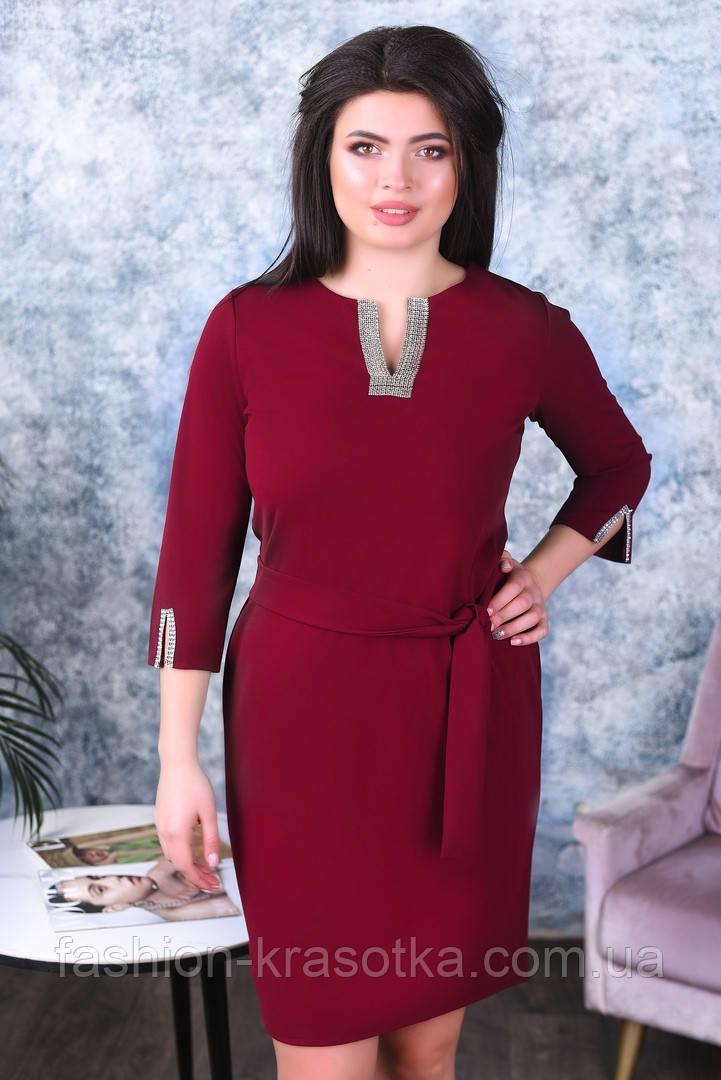 Модное женское платье,ткань креп-дайвинг,размеры:50,52,54.