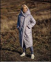 Стеганное женское пальто с капюшоном
