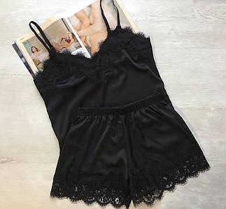 Женская шелковая пижама майка и шорты черная