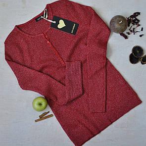 Жіноча кофта з люрексом на гудзиках червона
