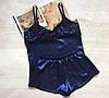 Пижама женская атлас темно синяя, фото 2