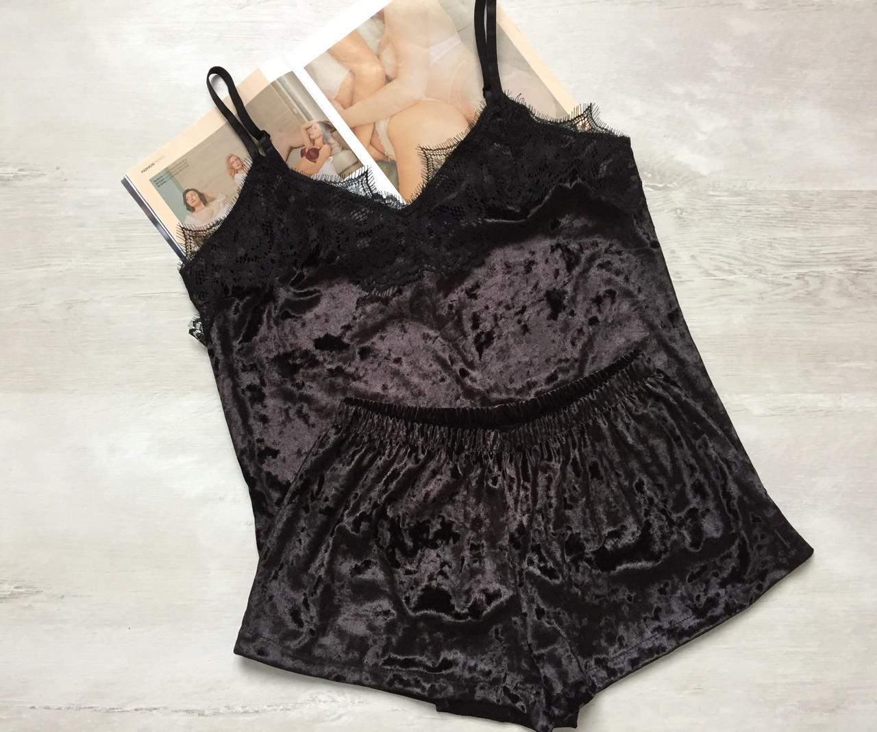 Пижама женская велюровая майка и шорты черная