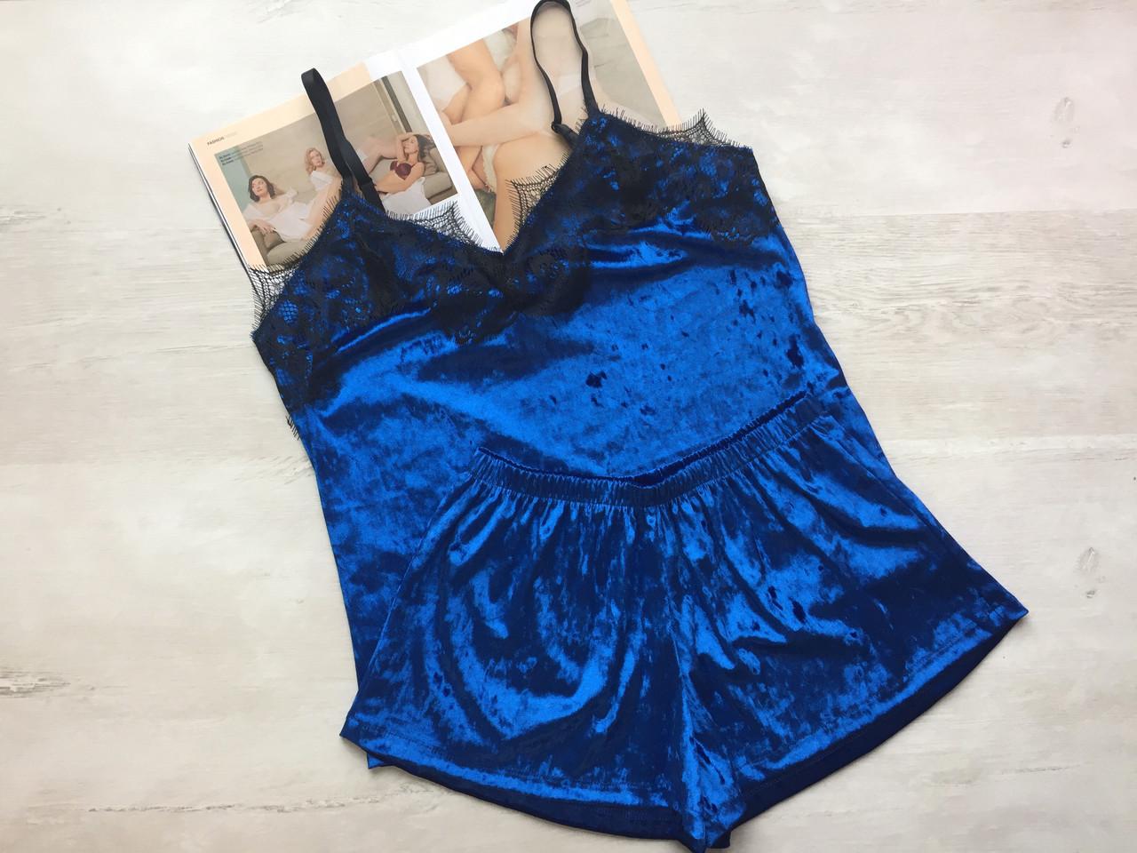 Пижама женская велюровая майка и шорты синяя
