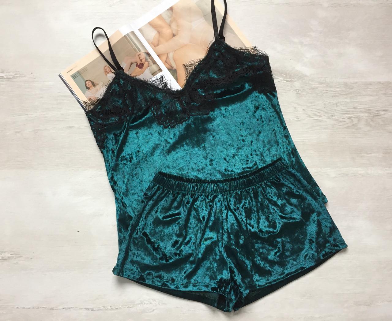 Пижама женская велюр майка и шорты 016/1 зеленая