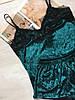 Пижама женская велюр майка и шорты 016/1 зеленая, фото 2
