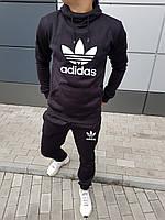 Утепленный мужской спортивный костюм Адидас с капюшоном черный (реплика)