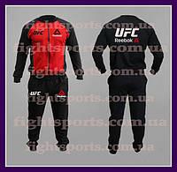 """Мужской Спортивный костюм UFC REEBOK RED (без капюшона) """"В стиле"""" черный , красный"""