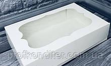 Коробка під зефір / *h=6* / 230х150х60 мм / Біла / вікно