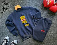 Мужской зимний - осенний спортивный костюм Supreme Bart Simpsonsреплика.