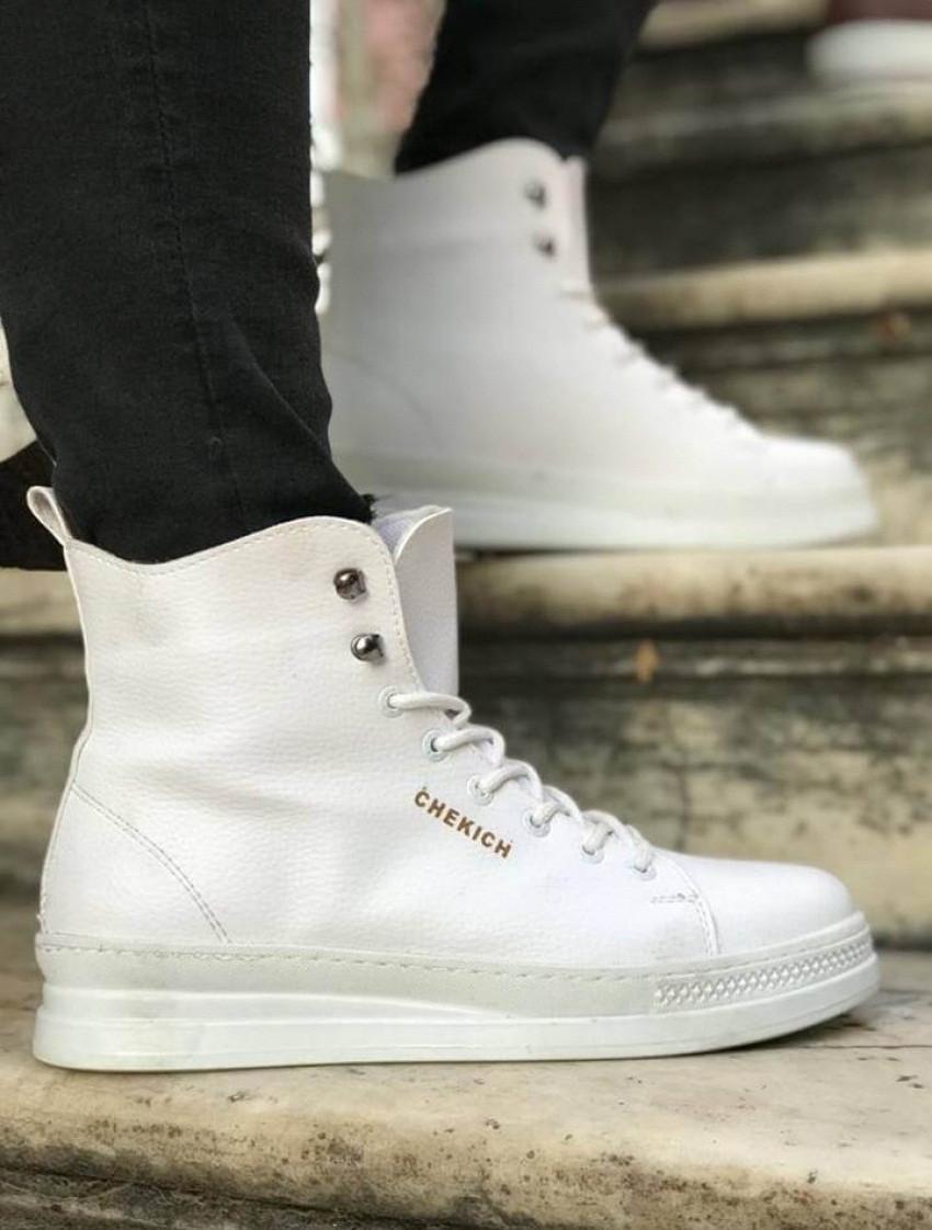 Мужские ботинки кожаные высокие Chekich CH055 White