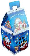 Домик новогодний, Картонная упаковка для конфет, 9,6х9,6х19,5 см