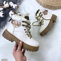 Женские зимние ботинки в белом цвете, эко кожа