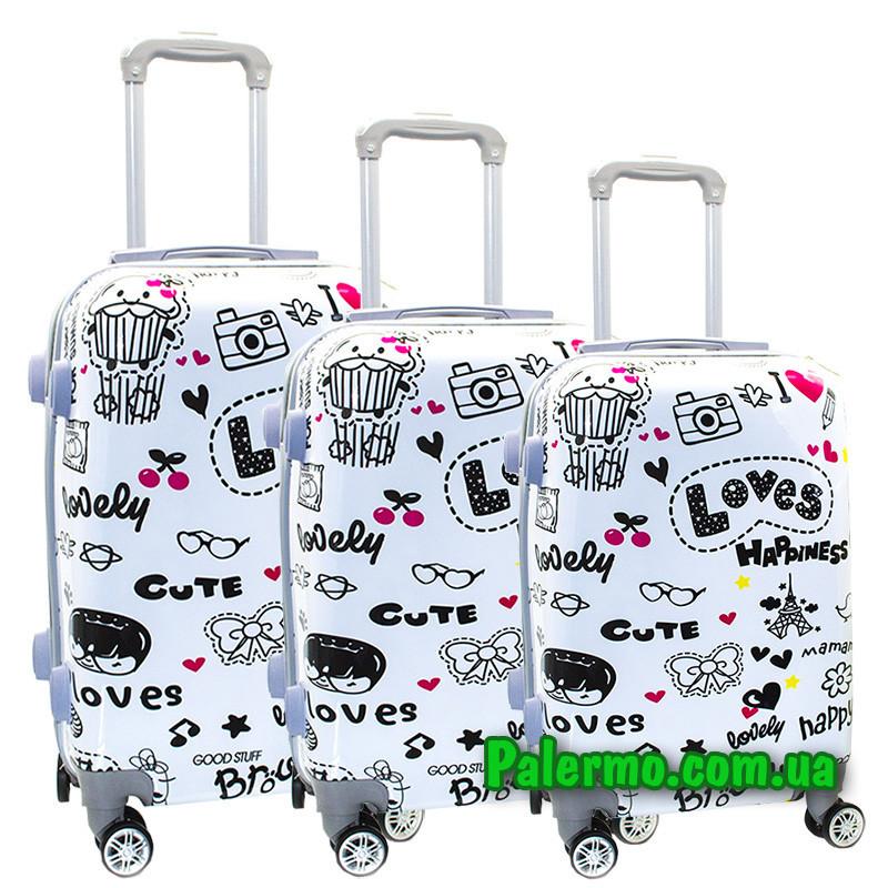 Набор пластиковых чемоданов на колесах (комплект из трех чемоданов) Loves