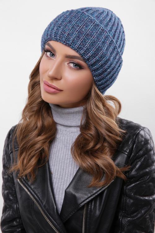 Красивая шапка Марианна волна-фиолетовый меланж