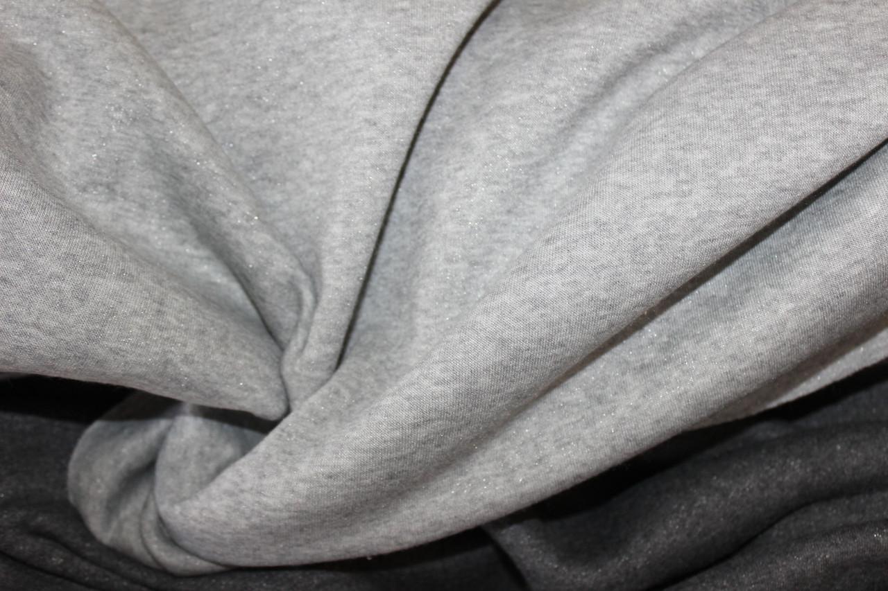 Серый светлый. Трехнитка на флисе, плотная с напылением, 1,4 м ширина. №804, фото 1