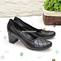 """Туфли черные женские кожаные на невысоком каблуке. ТМ """"Maestro"""", фото 1"""