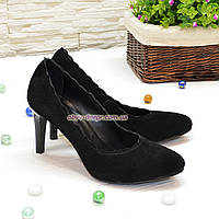 Туфли женские черные замшевые на шпильке