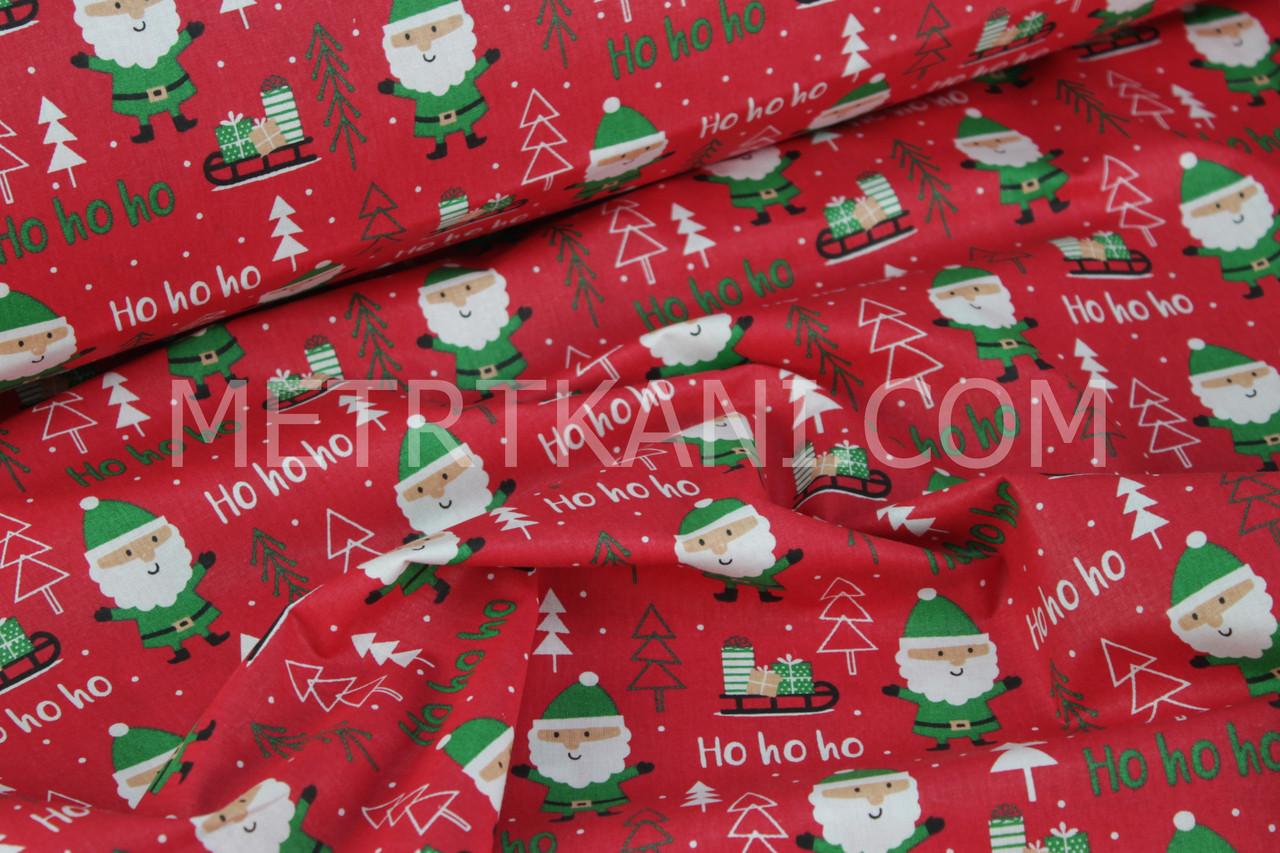 """Новогодняя ткань  """"Дед мороз """" на  красном фоне № 501"""
