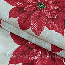 Декоративная новогодняя ткань с принтом красная пуансетия на сером фоне Ткани для штор на метраж с пошивом