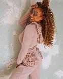 Женский теплый комбинезон из ангоры с рюшами и капюшоном (в расцветках), фото 3