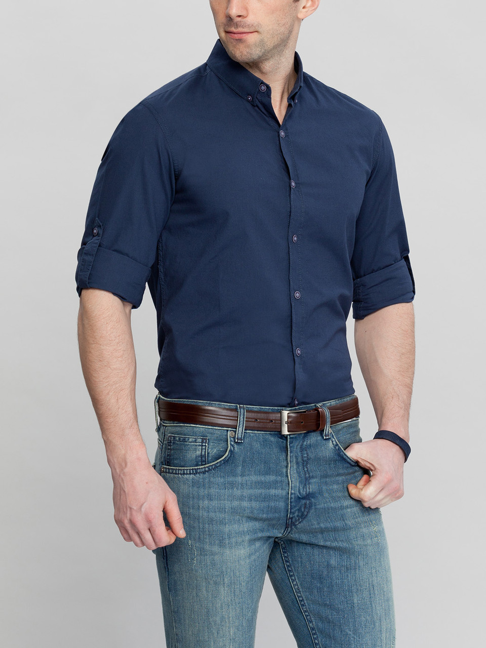 Синяя мужская рубашка LC Waikiki / ЛС Вайкики с пуговицами на воротнике