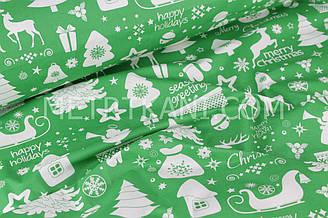 """Новогодняя ткань  """"Merry Christmas """" фон зеленый № 510"""