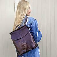 """Кожаный рюкзак-сумка (трансформер) с теснением под змеиную кожу """"Питон Bright Brown"""", фото 1"""