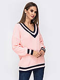 S-L Яркий вязаный свитер свободного кроя с треугольным вырезом размер 44-48 в расцветках, фото 8