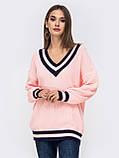S-L Яркий вязаный свитер свободного кроя с треугольным вырезом размер 44-48 в расцветках, фото 9