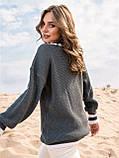 S-L Яркий вязаный свитер свободного кроя с треугольным вырезом размер 44-48 в расцветках, фото 5