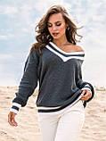 S-L Яркий вязаный свитер свободного кроя с треугольным вырезом размер 44-48 в расцветках, фото 4