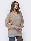 S-L Яркий вязаный свитер свободного кроя с треугольным вырезом размер 44-48 в расцветках, фото 6