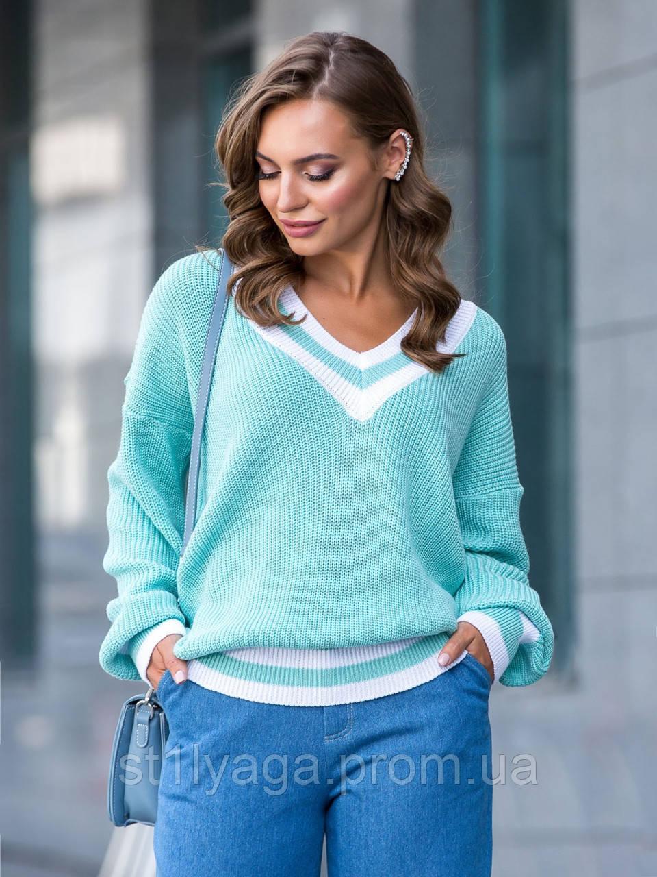 S-L Яркий вязаный свитер свободного кроя с треугольным вырезом размер 44-48 в расцветках