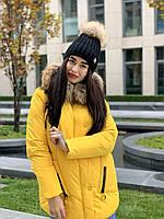 Женская курточка с капюшоном и съемным мехом желтого цвета Bei Bei 9903, размер М