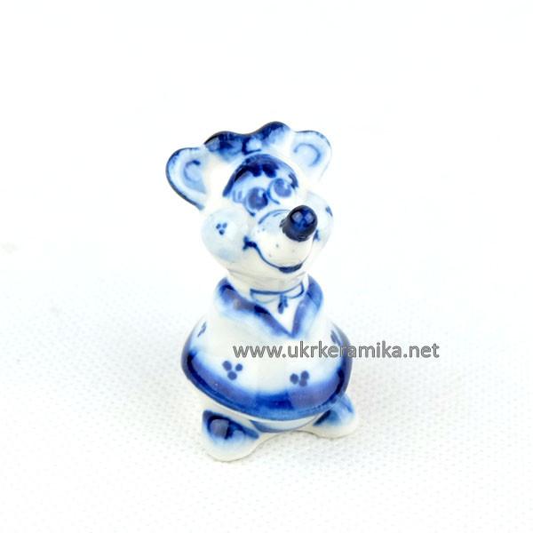 Мышка Маша гжель 5х3 см - сувенир гжель украинского производства