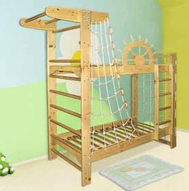 Двухэтажная кровать для подростков + спортивный уголок