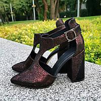 Туфли женские замшевые на высоком устойчивом каблуке, цвет бордо