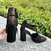 Туфли женские замшевые на высоком устойчивом каблуке, цвет бордо, фото 2