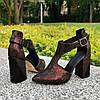 Туфли женские замшевые на высоком устойчивом каблуке, цвет бордо, фото 3